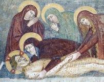 Agliate Brianza意大利:历史的教会,洗礼池 免版税图库摄影