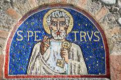 Agliate Brianza, mosaic of St. Peter Stock Photo
