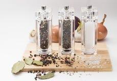 Aglio, cipolle, mulino di vetro con pepe e sale sopra Fotografie Stock