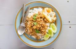 Aglio e cena del riso fritto della carne di maiale Immagini Stock Libere da Diritti
