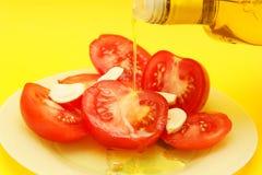 Aglio, pomodori & olio di oliva Immagine Stock
