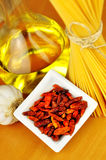 Aglio van de spaghetti, olioe peperoncino stock afbeelding