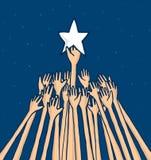 Aglomere o esforço para travar uma estrela ou o alcance de um sonho ilustração royalty free