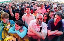 Aglomere o relógio um concerto no festival 2015 do som de primavera Fotografia de Stock