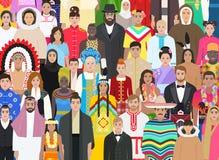 Aglomere povos de nacionalidades diferentes, ilustração do vetor Foto de Stock