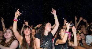 Aglomere-se em um concerto, em uma noite estrelado, no festival FIB Fotografia de Stock