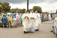 24 09 2018 Aglona, Letonia Su visita Letonia de papa Francisco de la santidad foto de archivo