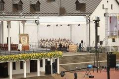 24 09 2018 Aglona, Lettland Sein Heiligkeits-Papst Franziskus-Besuch Lettland stockfotos