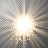 Gold  light with sparkle stock illustration