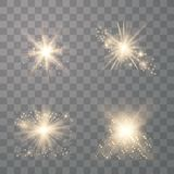 Set of golden glowing lights vector illustration