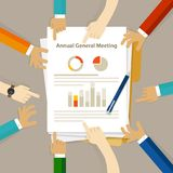 AGM Annual General Meeting shareholder board discuss company review financial profit. Chart hand collaboration on paper vector Stock Images