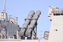 Destroyer F-104 MENDEZ NUÑEZ. The  AGM-84 Harpoon anti-ship missile system on the Frigate F-104 MENDEZ NUÑEZ of the Spanish Navy docked in the port of Stock Photos