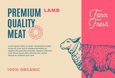 Agneau de la meilleure qualité de qualité Conception ou label d'emballage abstraite de viande de vecteur Typographie moderne et s Image stock