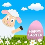 Agneau de Pâques souriant et carte de voeux Photos libres de droits