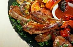 Agneau de viande de rôti sur la nervure Image stock