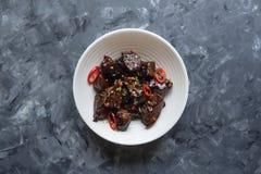 Agneau en sauce aigre-doux Cuisine asiatique image libre de droits