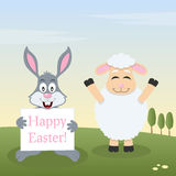 Agneau et Bunny Rabbit avec la bannière de Pâques Photo stock