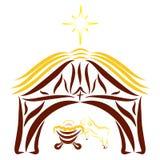 Agneau gai à côté de Jésus nouveau-né dans une écurie, sous briller illustration stock