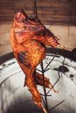 Agneau grillé sur le feu et le charbon, gril chaud de tandoor Paraboloïdes chauds de viande images stock
