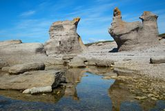 Agneau monolithe在Mingan在魁北克在加拿大 免版税库存图片