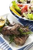 Agnello Kebabs con insalata greca Immagine Stock Libera da Diritti