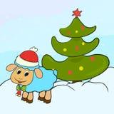 Agnello lanuginoso adorabile accanto ad un albero di Natale illustrazione vettoriale