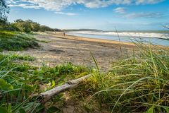 Agnes Water main beach in the summer at sunset, Australia Royalty Free Stock Image