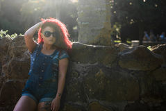 Agnese girl model with glass reflection. Model whit red hair in rome Stock Image