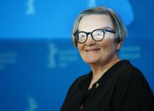 Agnieszka Holland poses at the `Mr. Jones. ` photocall during the 69th Berlinale International Film Festival Berlin at Grand Hyatt Hotel on February 10, 2019 in stock photos