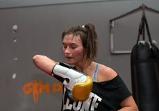 Agnieszka Niestoj - talented Polish boxer durning boxing training with coach in the gym. Cracow, Stock Photography
