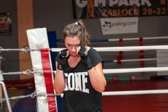 Agnieszka Niestoj - talented Polish boxer durning boxing training with coach in the gym. Cracow, Royalty Free Stock Photo