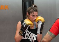 Agnieszka Niestoj - talented Polish boxer durning boxing training with coach in the gym. Cracow, Stock Photos