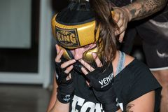 Agnieszka Niestoj - talented Polish boxer durning boxing training with coach in the gym. Cracow, Stock Photo