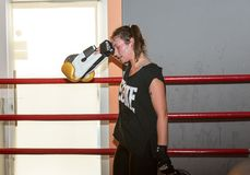 Agnieszka Niestoj - talented Polish boxer durning boxing training with coach in the gym. Cracow, Stock Images