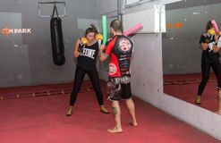 Agnieszka Niestoj - talented Polish boxer durning boxing training with coach in the gym. Cracow, Poland Stock Photos