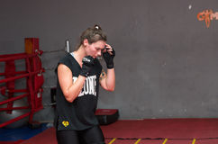 Agnieszka Niestoj - talented Polish boxer durning boxing training with coach in the gym. Cracow, Poland Stock Images
