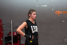 Agnieszka Niestoj - talented Polish boxer durning boxing training with coach in the gym. Cracow, Poland Stock Photography