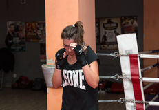 Agnieszka Niestoj - talented Polish boxer durning boxing training with coach in the gym. Cracow, Poland Royalty Free Stock Photography