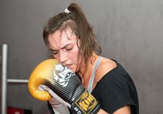 Agnieszka Niestoj - talented Polish boxer durning boxing training with coach in the gym. Cracow, Stock Image