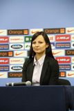 Agnieszka Olejkowska. WARSAW, POLAND - NOVEMBER 13: Agnieszka Olejkowska, new spokesperson of Polish Football Association (PZPN - Polski Zwiazek Pilki Noznej) Stock Photo