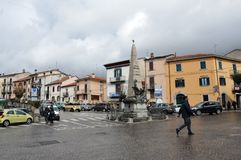 Agnone medieval village in Italy. The monument of Libero Serafini, the revolutionary Jacobean who died during the Neapolitan Revolution of 1799. Agnone village stock photo