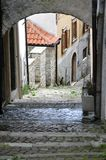 Agnone medieval village in Italy. Typical medieval architecture in the historic center of the medieval village of Agnone. Molise region, central south Italy royalty free stock image