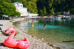 Agnontas海滩,希腊 免版税库存照片