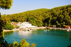 Agnontas bay on a sunny day, Greece royalty free stock photo