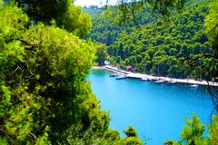 Agnontas bay on a sunny day, Greece stock photography