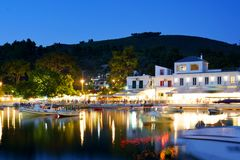 Agnontas beach and bay at night, Greece stock photos