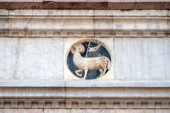 Agnus Dei carrying a Christian flag, Florence Cathedral Stock Image