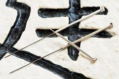 Ago di agopuntura fotografia stock