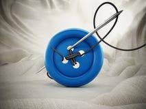 Ago di cucito, corda e bottone rosso sul panno bianco illustrazione 3D Fotografia Stock