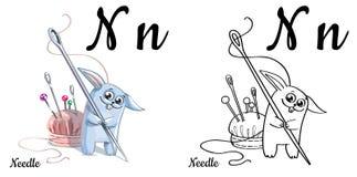 Ago Lettera N, pagina di coloritura di alfabeto di vettore Illustrazione Vettoriale